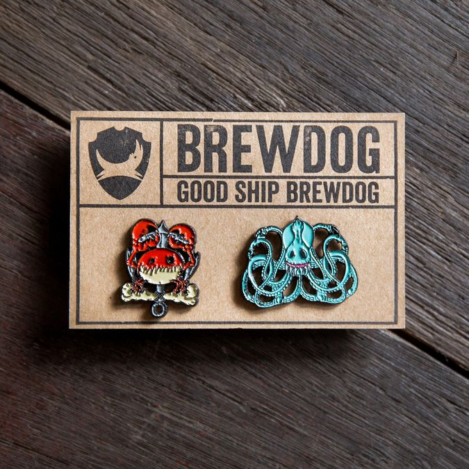 Crab & Octopus Pin Badge Set