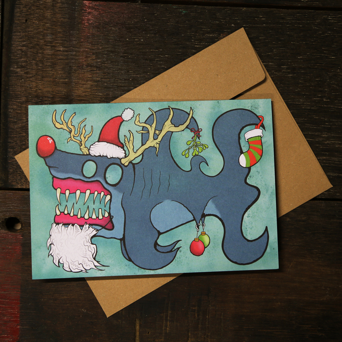 Baubles Sharkz Christmas Card 10 Pack